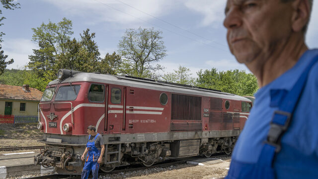 Engineers Jamal Starkov, right, from Cherna Mesta and Halil Mustafa from Avramovo take a break at station Kostandovo. Many of the narrow gauge train lines approximately 300 employees come from the Bulgarian Muslim communities along the train line.
