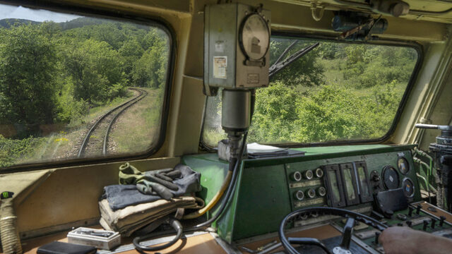 The view from a 1965 Henschel locomotive, part of the batch of 10 narrow-gauge specific engines put into service that same year. The Septemvri-Dobrinishte route was one of three lines using the 760mm gauge, which was well-adapted to the challenging mountain terrain (and necessary for making the sharp turns along the route). The other two lines (a total of 136 km) were closed down in 2002 for economic reason, leaving the existing line the last narrow gauge line in Bulgaria.
