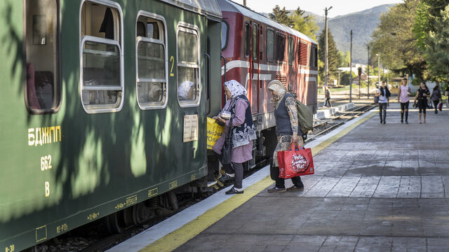 Women from Tsvetino board the train at station Velingrad after selling their products in the market or delivering directly to customers.