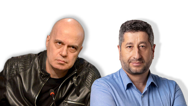 On Sunday, Slavi Trifonov (left) attacked DemBG leader Hristo Ivanov, blaming him for trying to mess with TISP's nominations for cabinet