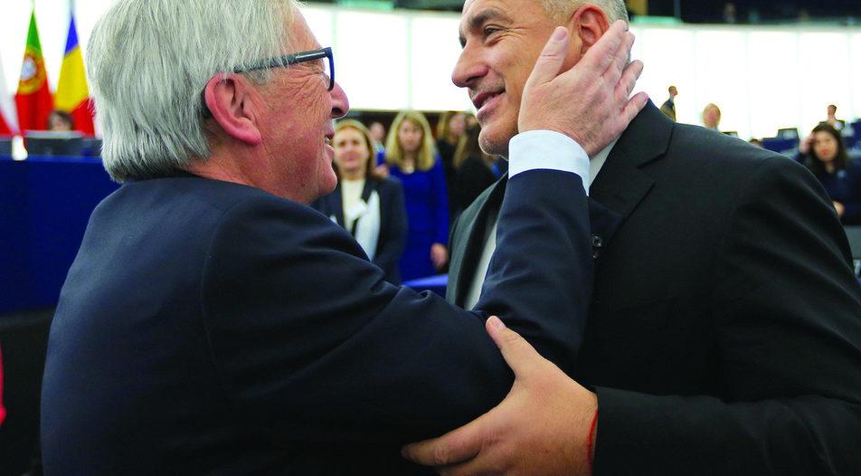 European Commission's president Jean-Claude Juncker looks genuinely amused when he meets Bulgarian PM Boyko Borissov