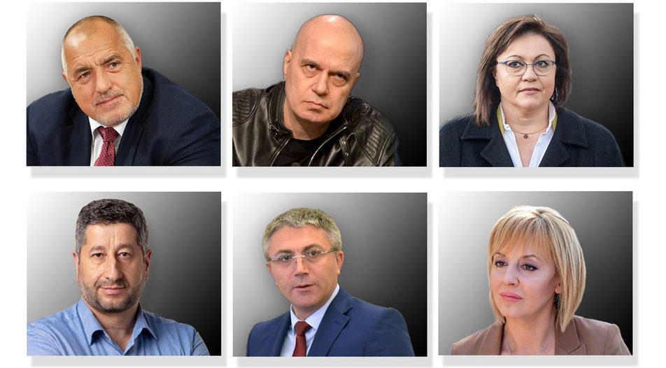 The leaders of the six parties that enter parliament (from top left - Boyko Borissov, Slavi Trifonov, Kornelia Ninova, Hristo Ivanov, Mustafa Karadayi and Maya Manolova) will have to calculate a complicated - or maybe even impossible - equation in the next few weeks