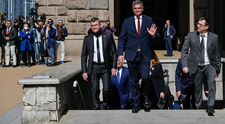 """Great expectations: Bulgarians have placed high hopes for reform and dismantling of the """"Borissov"""" model of governance on caretaker Prime Minister Stefan Yanev (middle)"""