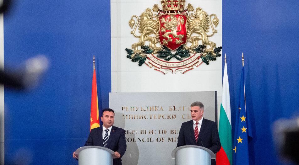Zoran Zaev (left) meeting his Bulgarian counterpart Stefan Yanev in Sofia on Thursday