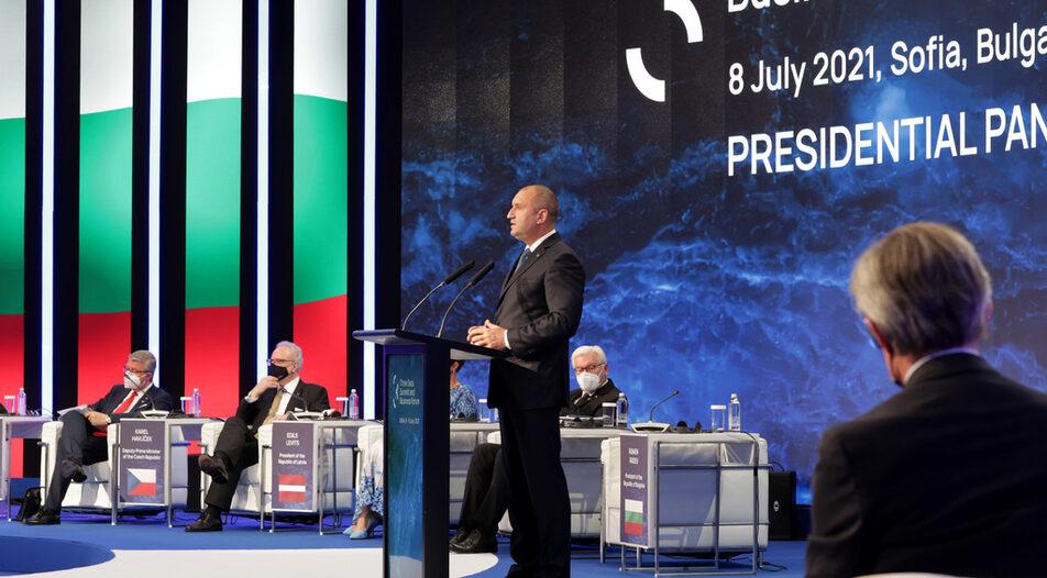 Bulgarian President Rumen Radev talking at the opening of the Three Seas Initiative forum in Sofia