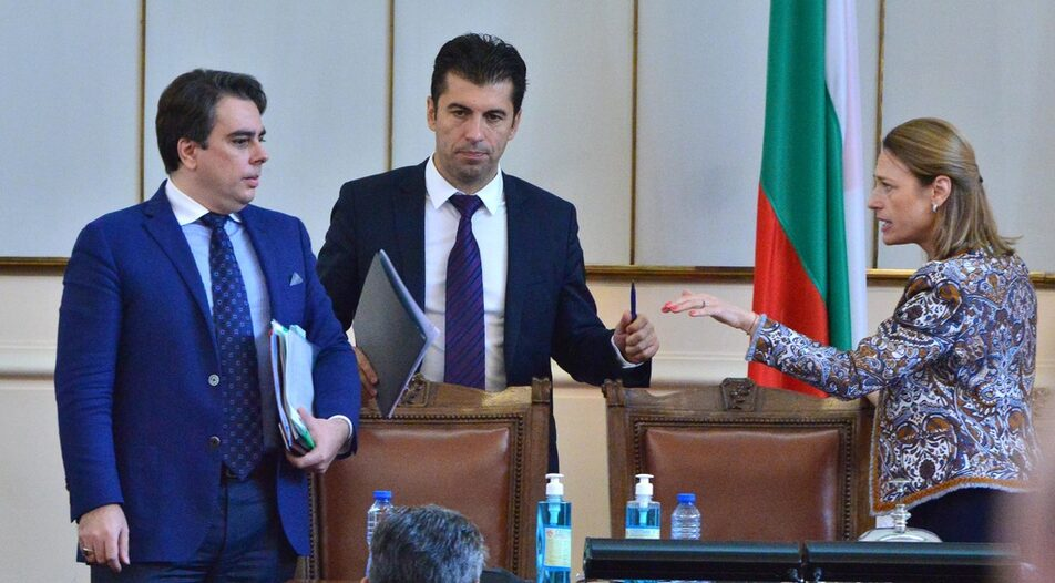 """Assen Vassilev (left) and Kiril Petkov (middle) claim they will attain """"left goals with right-wing policies"""""""